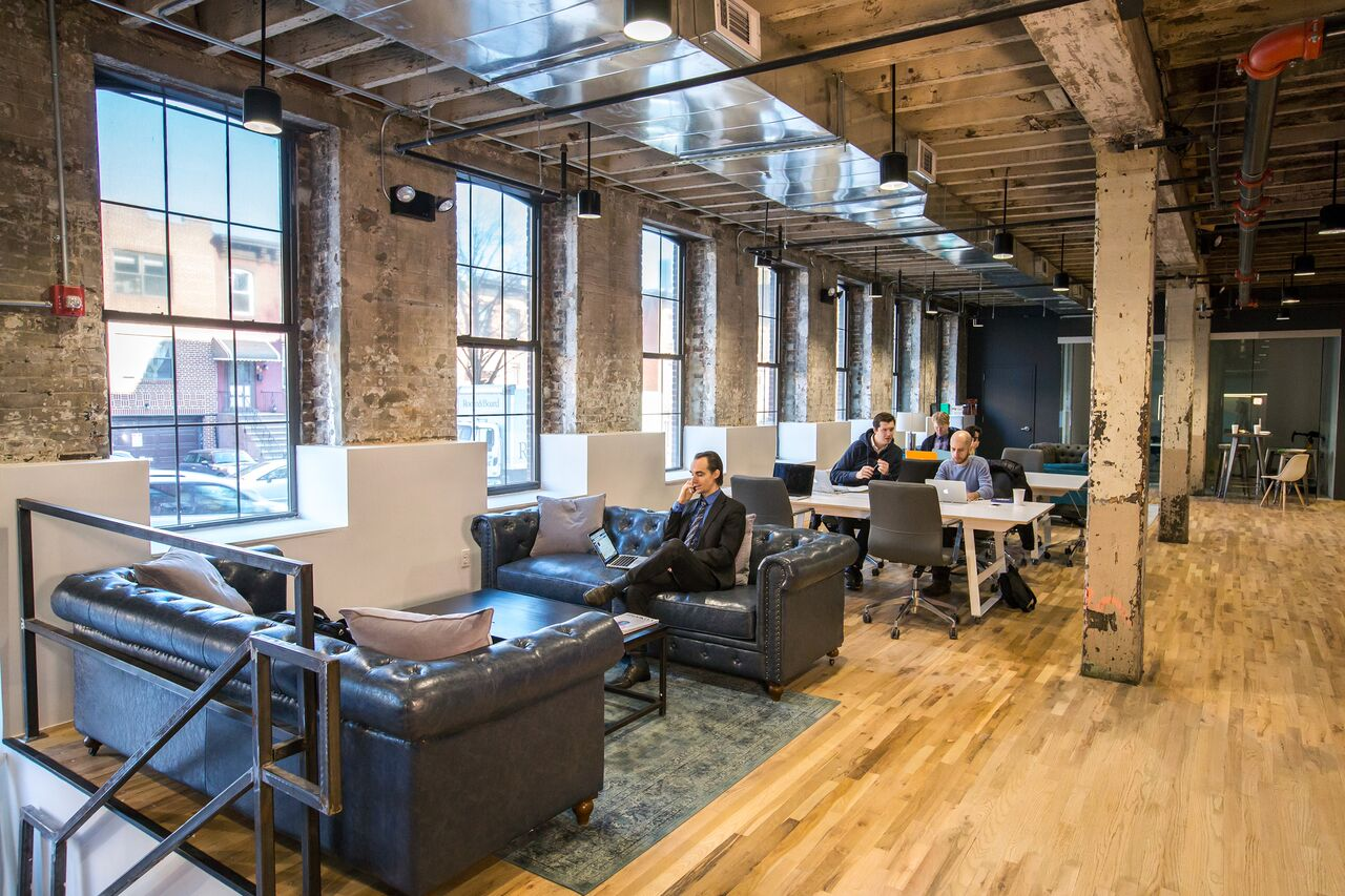 Open collaborative space with couches