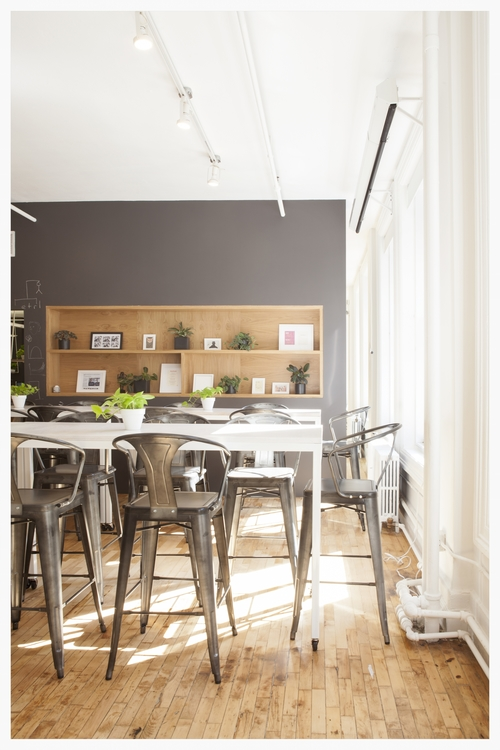 Industrial Elements with bookshelf and seating area