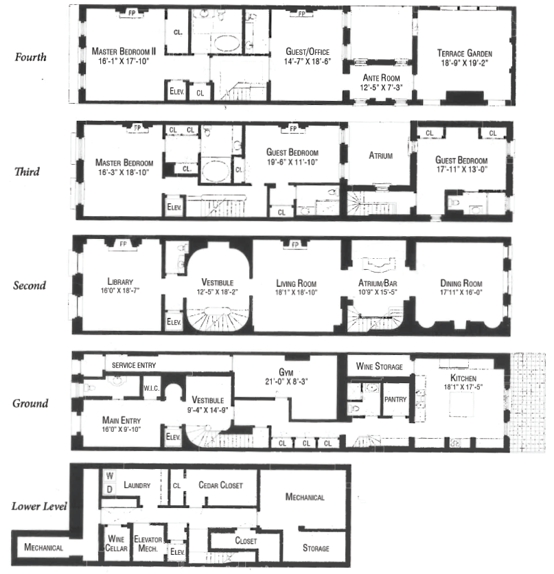 Floorplan of 4 story penthouse office