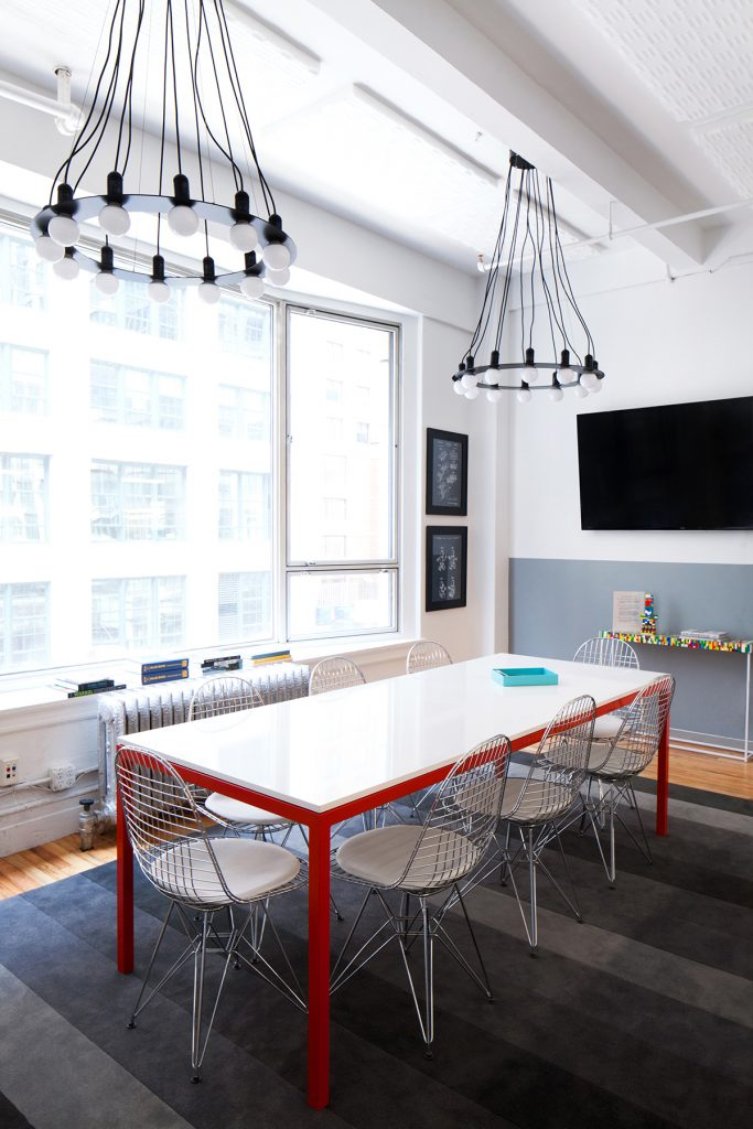 modern meeting room with a white table