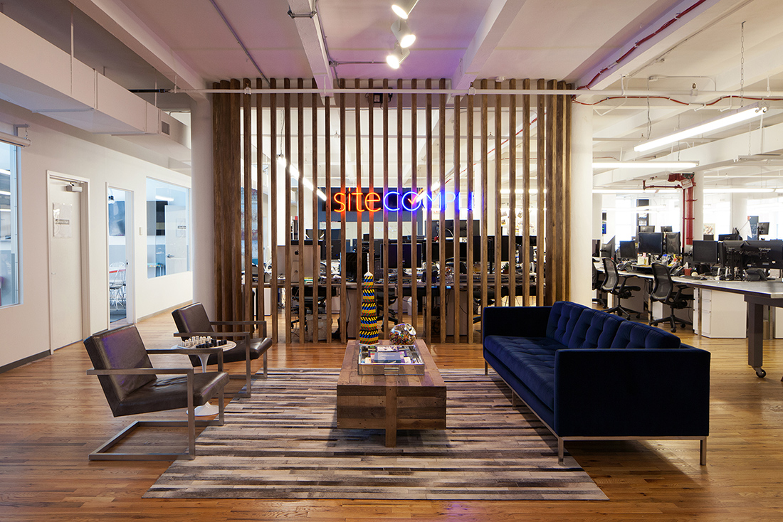 Trendy office Reception Area Trendy Office Space With Neon Sign And Blue Furniture Alamy The Trendy Office Of Sitecompli Uniqueworkspacescom